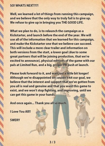 The Good Life Failed to Meet Crowd Funding Goals - Message 3 of 3