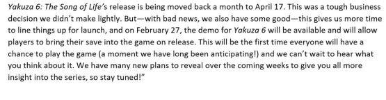 yakuza 6 delayed