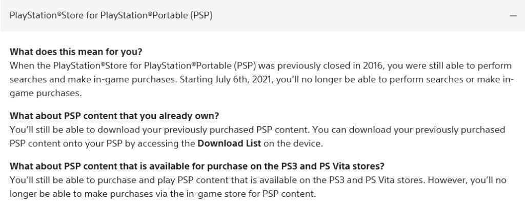 PSP store full closure