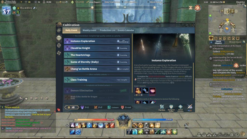 Swords of Legends Online cultivation