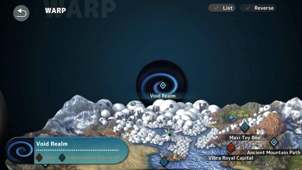 Fantasian Void Realm map screenshot
